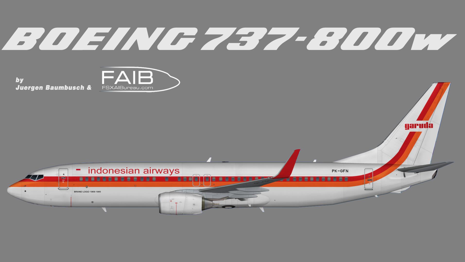 Garuda Indonesia Boeing 737-800w Retro Logojet 1969 – 1985