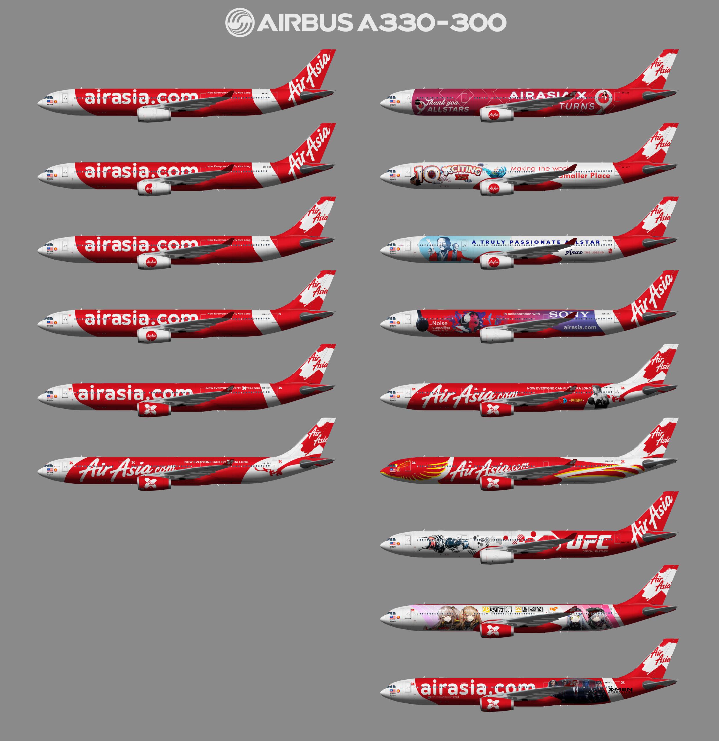 AirAsiaX Airbus A330-300 (representative fleet)