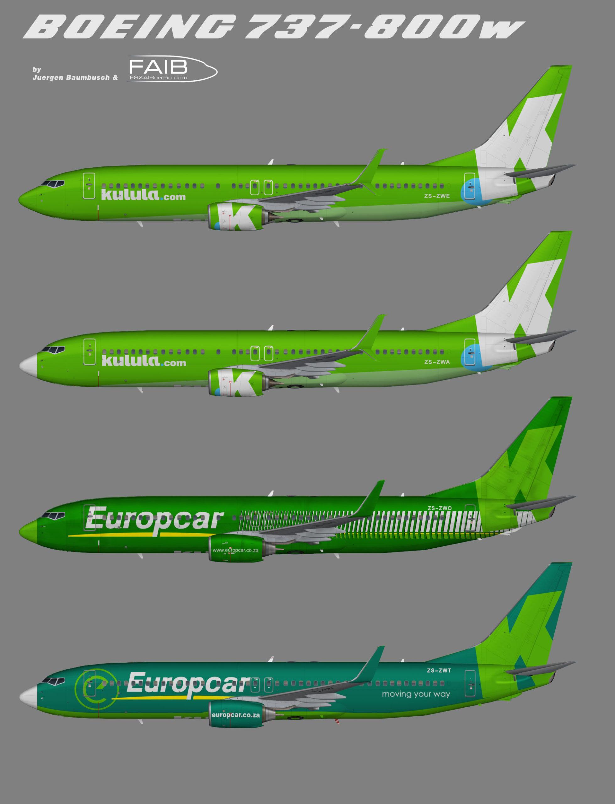 Kulula Boeing 737-800 (Representative fleet)
