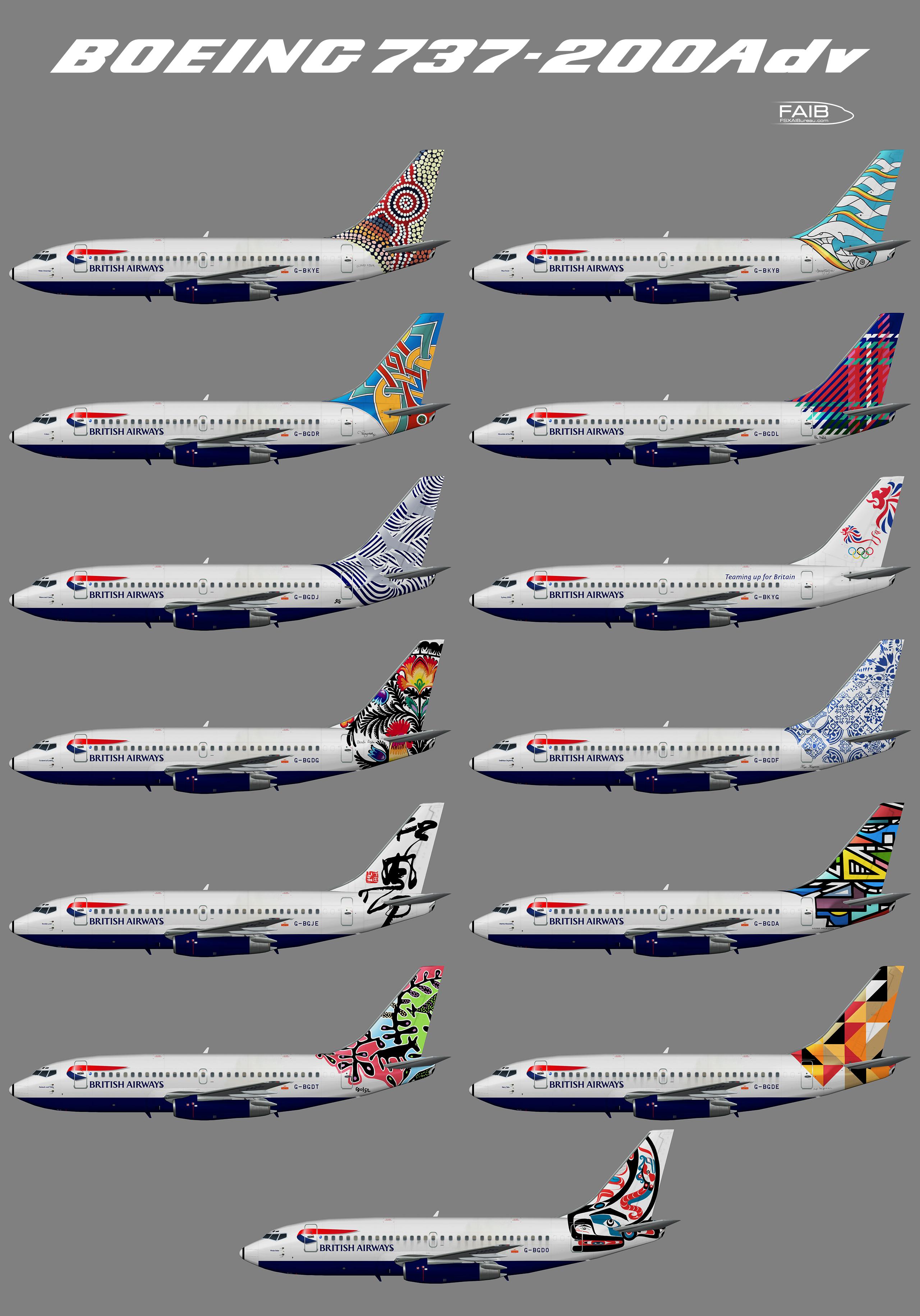 """British Airways """"World Tails"""" Boeing 737-200Adv"""