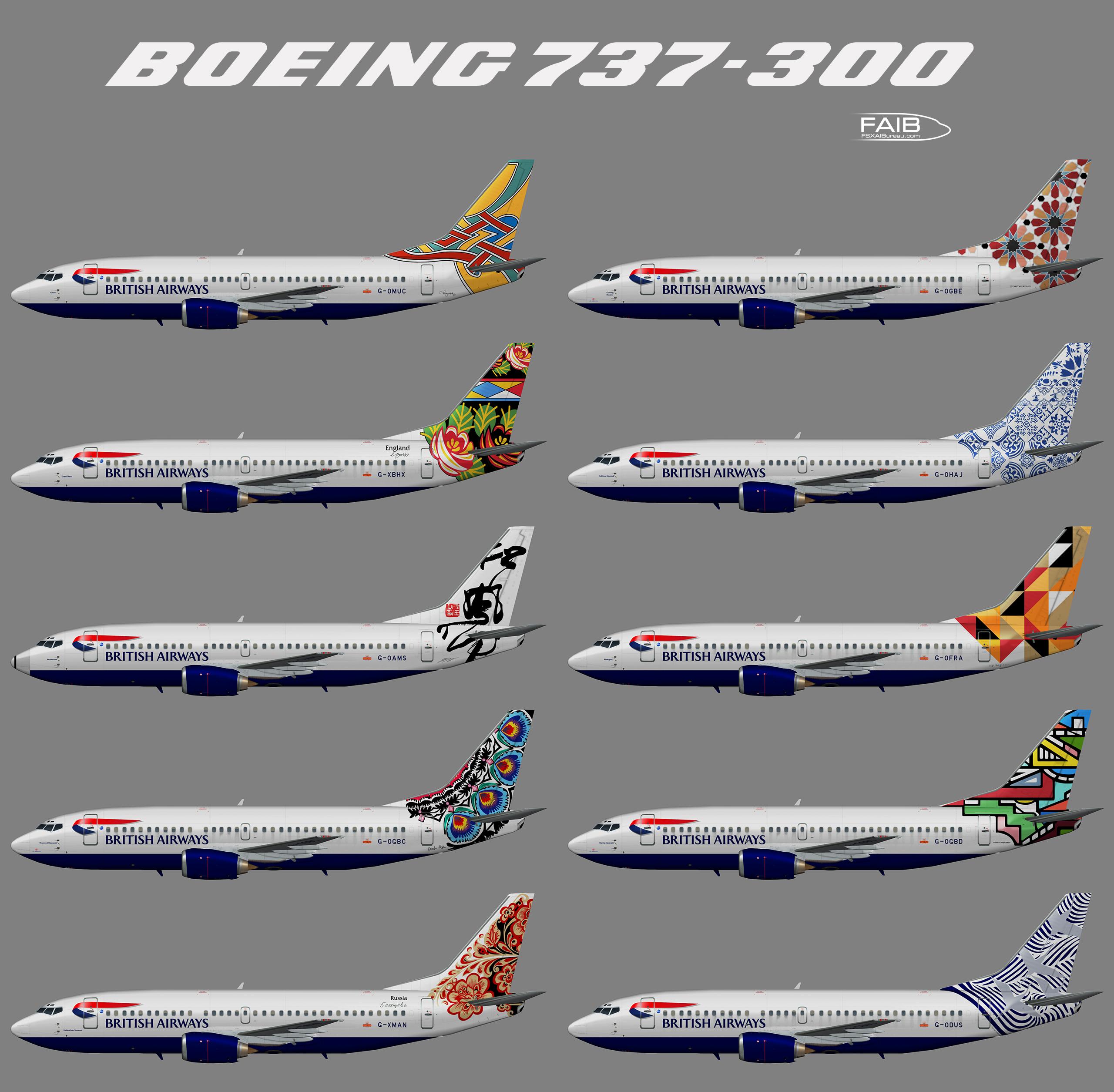 """British Airways """"World Tails"""" Boeing 737-300"""