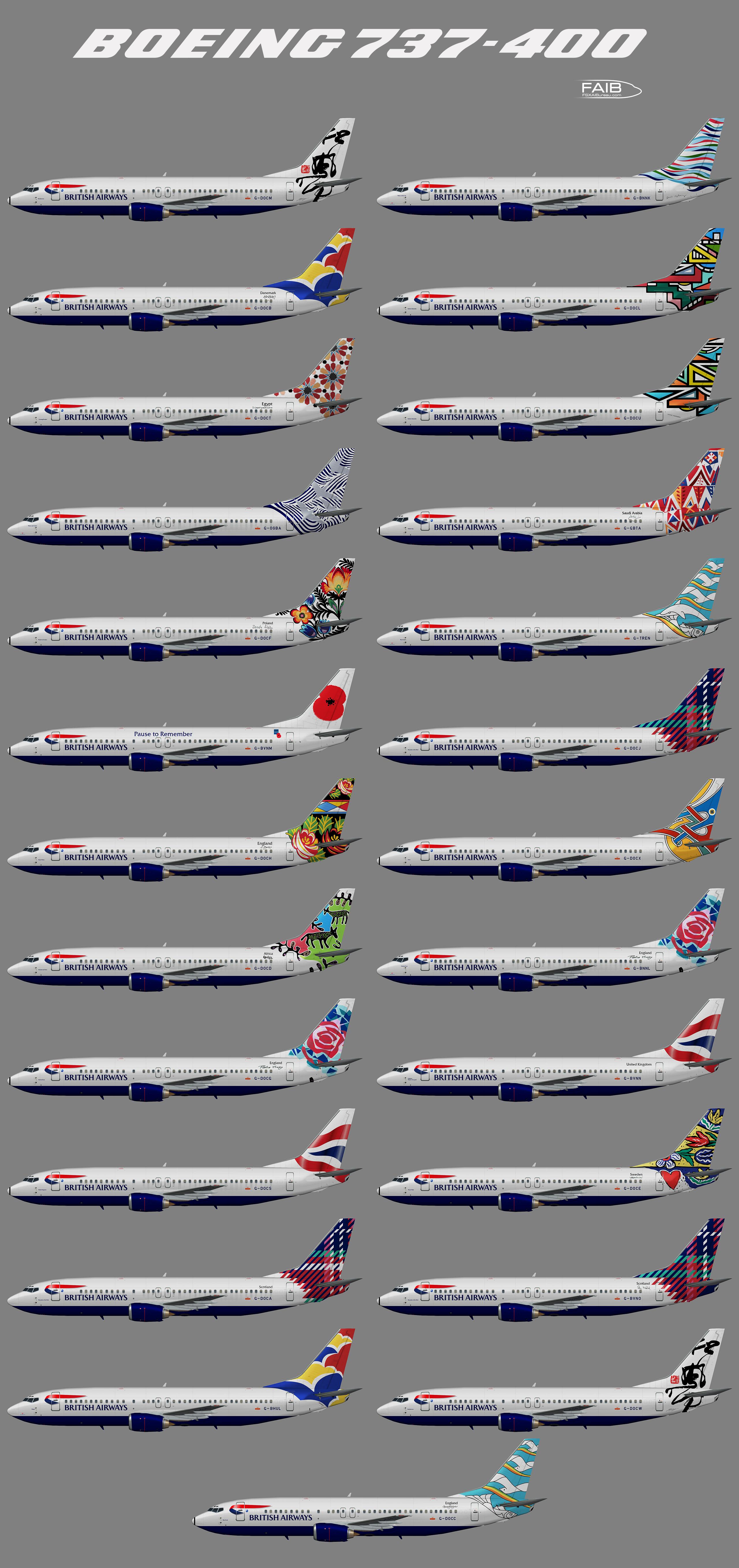 """British Airways """"World Tails"""" Boeing 737-400"""