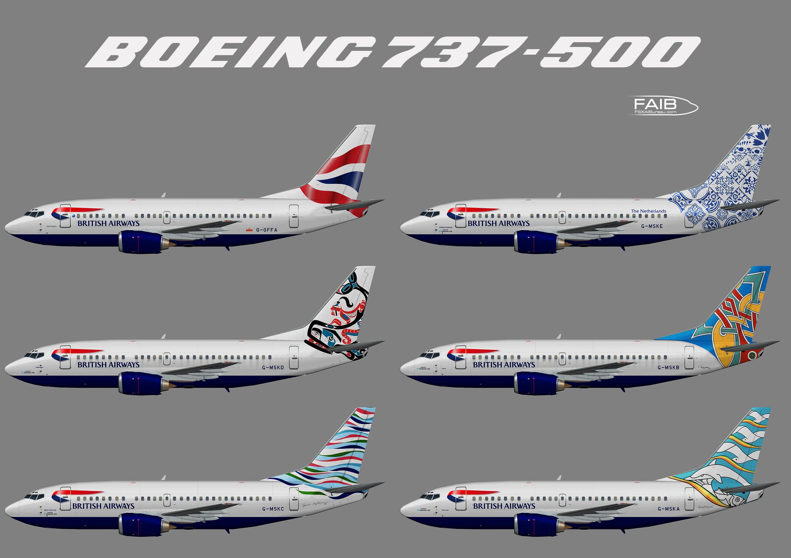 """British Airways """"World Tails"""" Boeing 737-500"""