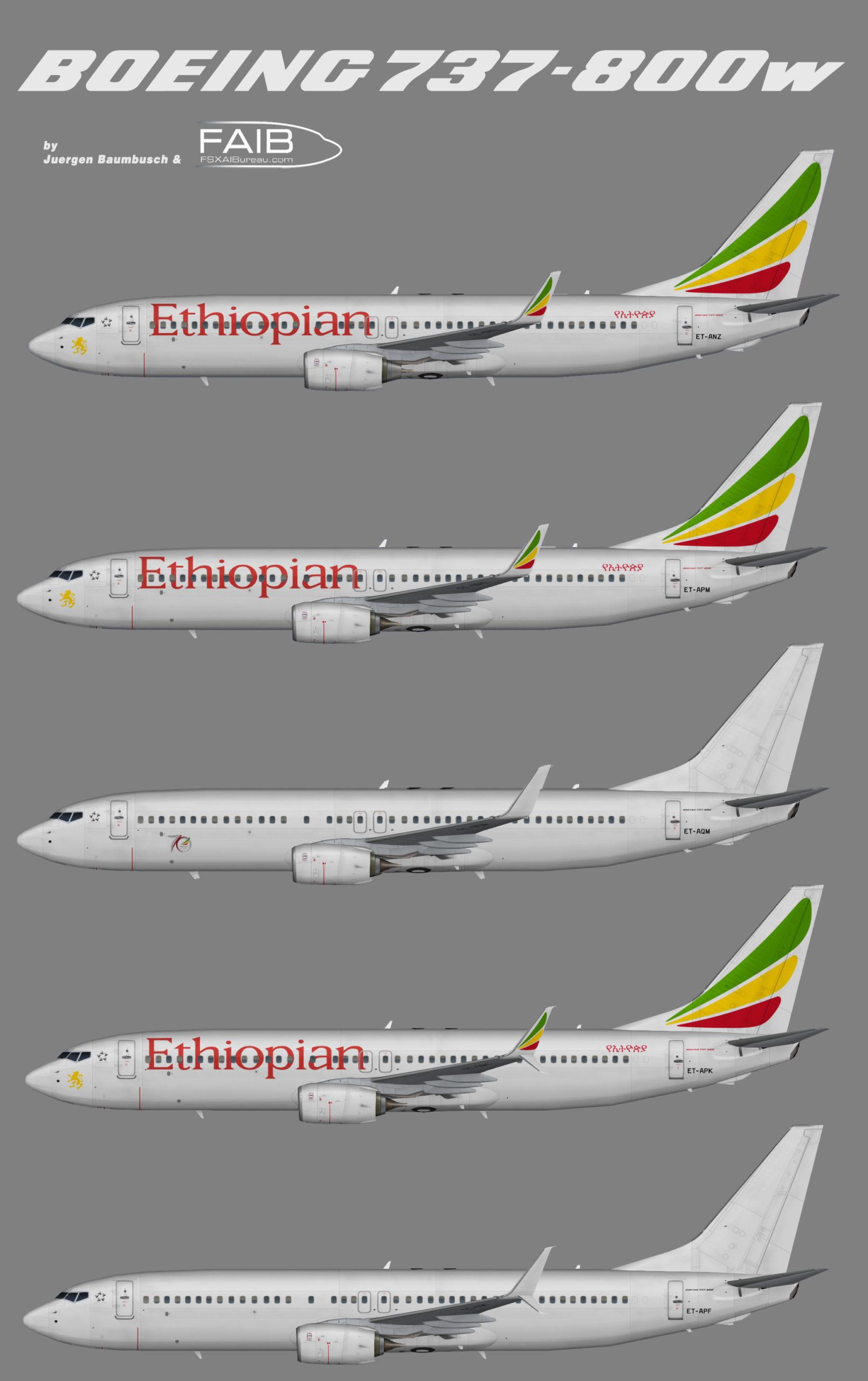 Ethiopian Airlines Boeing 737-800w