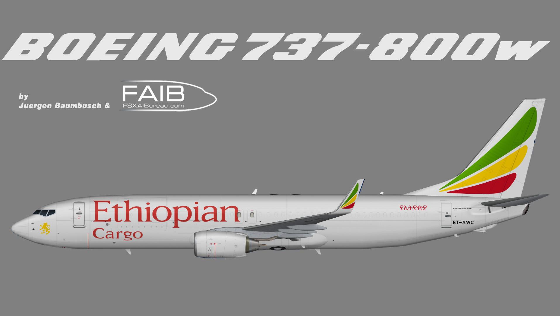 Ethiopian Airlines Cargo Boeing 737-800w (P2F)
