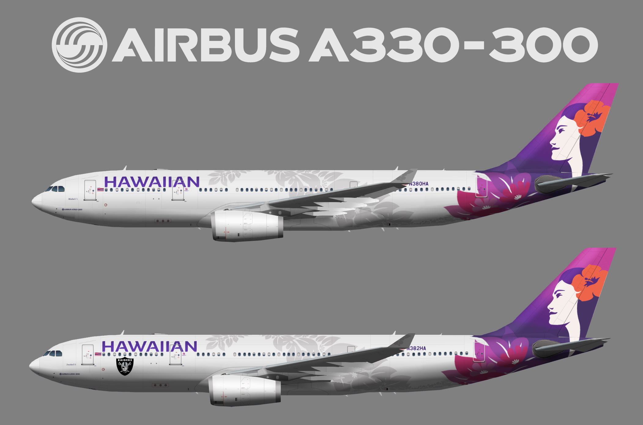 Hawaiian Airlines Airbus A3330-200 New colors
